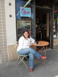 Alissa Houser, executive director of The Pollination Project, at Cafeina Organic Café.