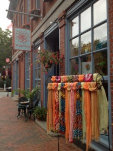Waterlily's colorful storefront on Milk Street.