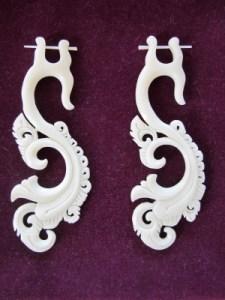 Bone earrings hand carved from Bali artisans.