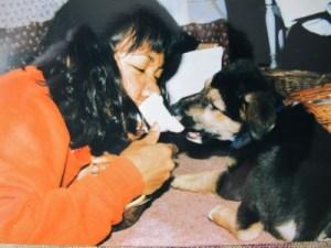 Puppy-sitting Jack's dog, Gatsby, in my graduate dorm room, Syracuse University.