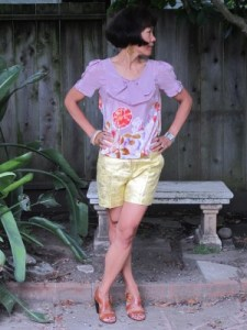 Still shorts weather with silk and brocade.