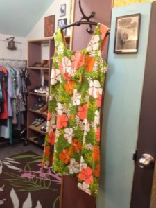 A flower power dress that looks circa 1960s at Material Objects.