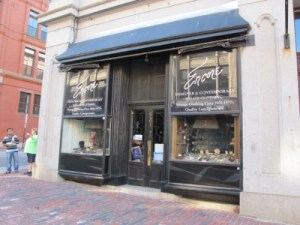 Encore's storefront, appropriately located in a former jewelry store.