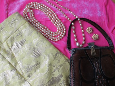 Velveteen, brocade, pearls, vintage pearls, and vintage Edwardian purse.