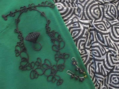 Green and black for fall with black accessories: MOMA ring (NYC), Carmela Rose earrings, and Batucada eco-friendly plastic necklace (Lava 9, Berkeley, CA).