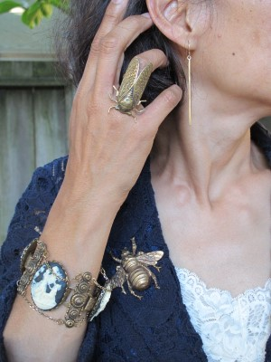 Vintage inspired: Abacus earrings (Portland ME), End of Century cicada ring (NYC), Lava 9 pin and bracelet (Berkeley, CA).
