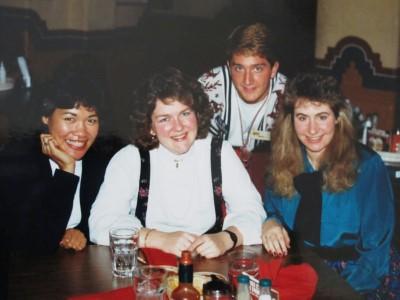 Circa 1990 at El Torito with our token waiter.