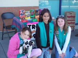 Selling Girl Scout cookies, at age 11.