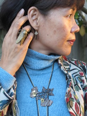 Carmela Rose earrings, End of Century cicada ring (NYC), and Lava 9 Art Nouveau necklace (Berkeley, CA).