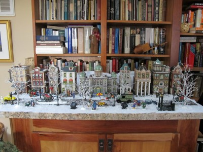 Our family's favorite village - the financial and city hall center - in our library.