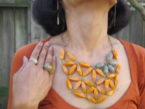 "Abacus earrings (Portland, ME), ""vintage"" Anthropologie necklace, Sundance rings, and Lava 9 chunky ring (Berkeley, CA)."