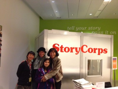 Sharing our stories with Geraldine, our guide, at the StoryCorps recording studio in San Francisco.
