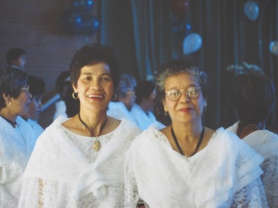 How I want to remember my mom: Vibrant and happy. With Auntie Rose in their traditional costumes for their dance presentation at the San Esteban Circle Labor Day Weekend festivities, 1995.