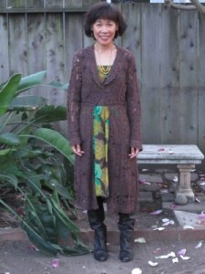 Ready to see a play at the A.C.T.: Dressing with a nod to the turn of the century styling in a lace and crochet duster.