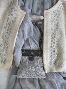 A great find at the Portland, Maine, consignment shop, Second Time Around, a Marc Jacobs open cardigan with rows of gray glass.
