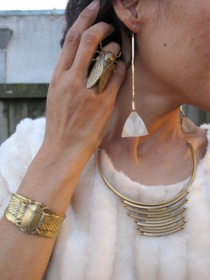 Earthy accessories: Laura Lombardi necklace (Eskell, Chicago), End of Century cicada ring (NYC), Alkemie scarab cuff, and Anthropologie feather earrings.