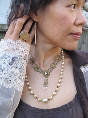 More vintage and contemporary: Abacus earrings (Portland, ME), Lava 9 ring (Berkeley, CA), and eBay finds: antique necklace and Miriam Haskell pearl necklace.