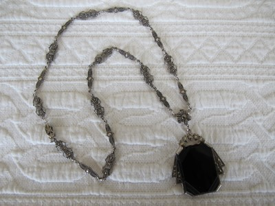 1920s French onyx and sterling silver necklace.
