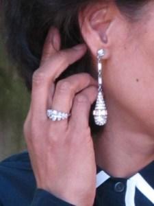 Dramatic Ben-Amun drop earrings (Personal Pizazz, Berkeley, CA) and my mom's ring.