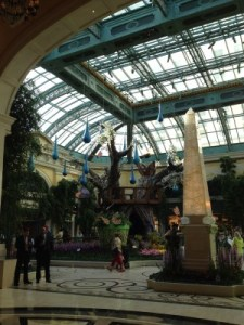 "The Bellagio Gardens, near Michael Mina's restaurant, where me and my team dined on ""innovative seafood."""