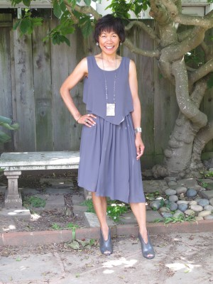 Vivian with a gray layered, asymmetrical hem dress and peep-toe booties - and my new short haircut.