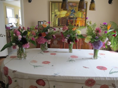 Four bouquets from our garden for Portola's 8th grade promotion ceremony.