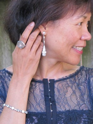 This stunner of a dress only needs simple yet elegant accessories: equally stunning Personal Pizazz drop earrings (Berkeley, CA), Elizabeth Ng antique button ring (Abacus, Portland, ME), and vintage bracelet (eBay).