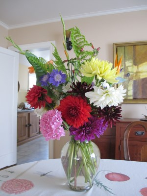 July 1st anniversary bouquet for my friends Kelly and Scott side 3, featuring scabiosa caucasica 'Fama Blue.'