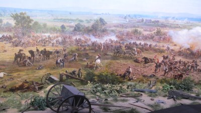 The Cyclorama Painting is a 360-degree experience, with a diorama in the foreground, blending into the painting.