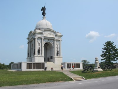 The massive Pennsylvania monument can be seen for miles, towering the many monuments scattered throughout the park.
