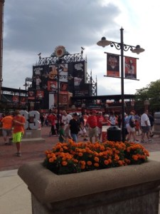 Approaching Oriole Park in downtown Baltimore.