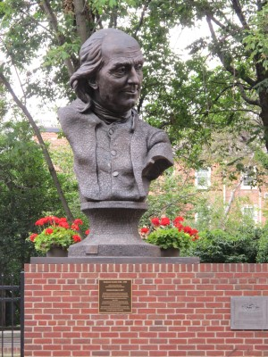 Benjamin Franklin bust made of house keys donated by children at a small open-space park, one of many in the city.