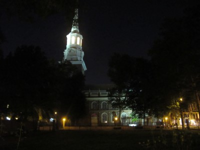 Old Christ Church at night.