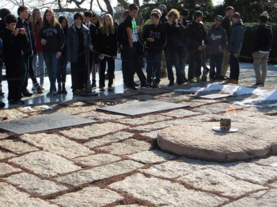 Jacob was moved by JFK's grave site and its eternal flame at Arlington National Cemetery, February 2014.