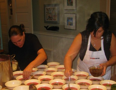 Sinead and Sirona cheffing a 30-guest dinner.