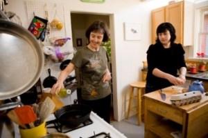 Sirona and her mom Nancy Skinner cooking in her mom's home in Berkeley.