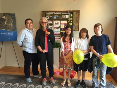 Joann trains our superb raffle ticket sellers, from let to right, her cousin Annika, Isabella, Mateo, and Wyatt.