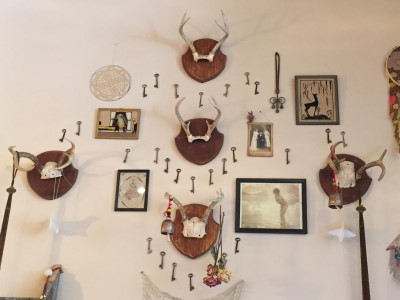 Eclectic shop design - keys and horns.