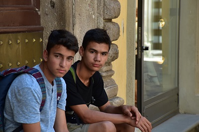 Two boys in Lucca, waiting for pool time.