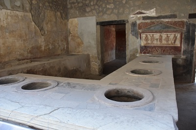 A lunch counter in an establishment in Pompeii.