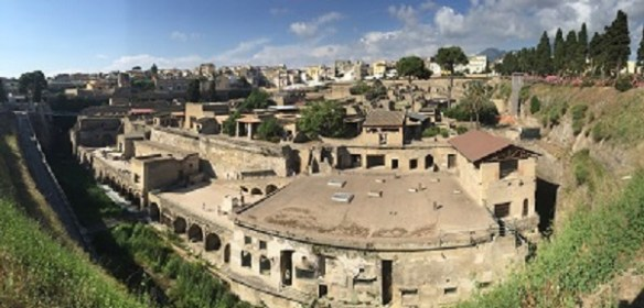A panoramic view of the amazing ancient city of Herculaneum.