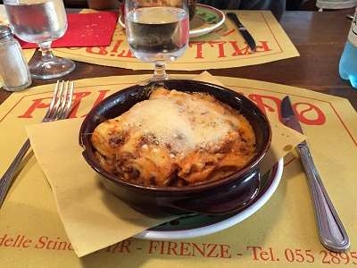 Lasagna lunch at Trattoria Palilottino on Via Iola dells Stinche.