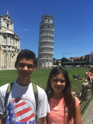 Isabella and Jacob with the tower.
