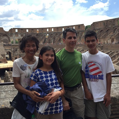 Family portrait with the Coliseum in the background.