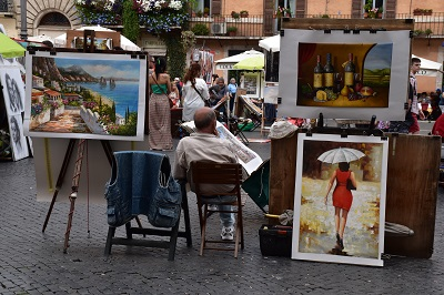 Artists abound at Piazza Novena.