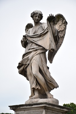 Statue on the bridge over the Tiber River.