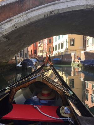 Reflections on a gondola.