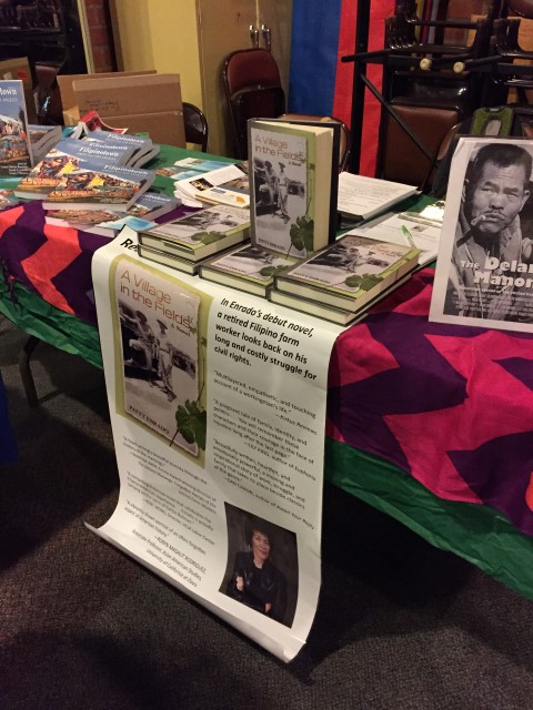 A great table, with Filipinotown: Voices from Los Angeles, my novel, and the DVD of Marissa's documentary.