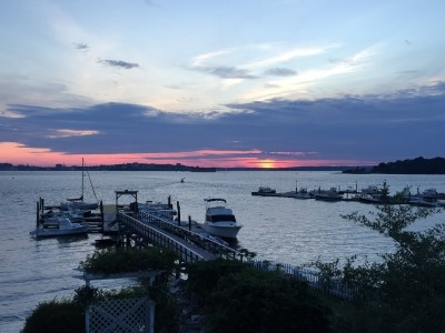 The whole company took the ferry to Peak's Island to enjoy the sunset, play deck games, and drink and eat.