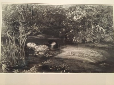 Ophelia (mezzotint etching and stipple on chine colle; proof), 1866, by James Stephenson after John Everett Millais. Millais painted the original masterpiece, which is one of my all-time favorite paintings. Stephenson's print is a masterful print reproduction (photo by me).